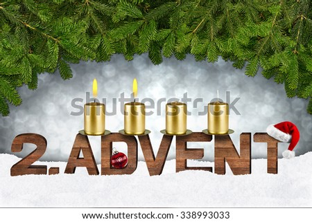 second advent concept with candles and fir branches - stock photo