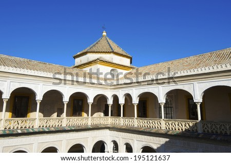 second floor of the main courtyard in the palace of Pilatos, Seville, Andalucia, Spain - stock photo