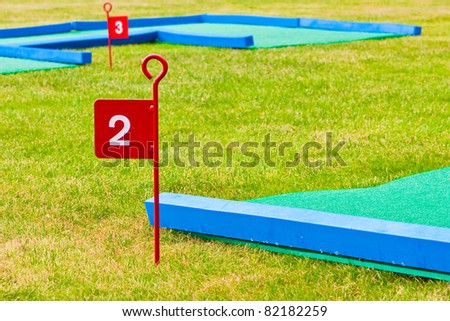 Second hole on a mini golf course - stock photo