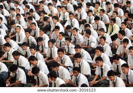 Secondary school students gathering, 2005. - stock photo