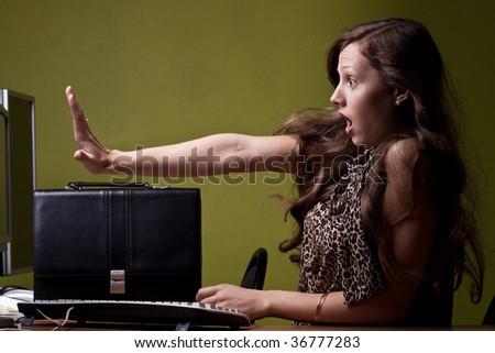 Secreatary is scared - stock photo