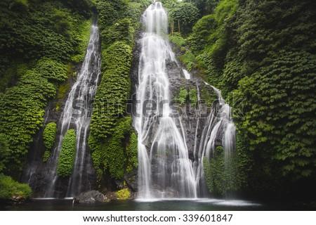 Secret Bali jungle Waterfall called Banyumala - stock photo