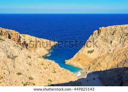 Secret beach. Seitan Limania Beach. Akrotiri, Crete, Greece - stock photo