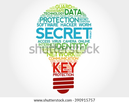 SECRET bulb word cloud, business concept - stock photo