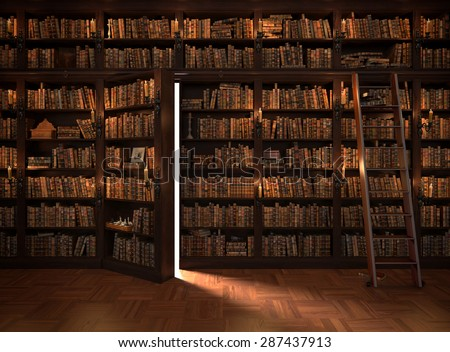 Secret door in the bookcase. Mysterious library with candle lighting. With vintage stuff - stock photo