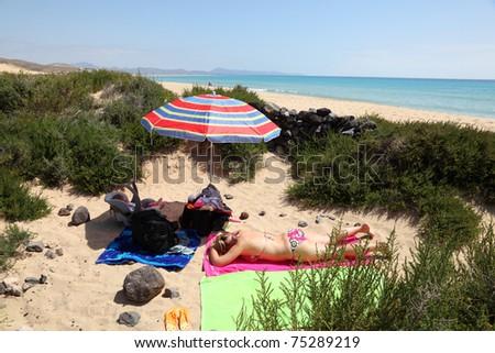 Secret place on the beach of Fuerteventura, Spain - stock photo