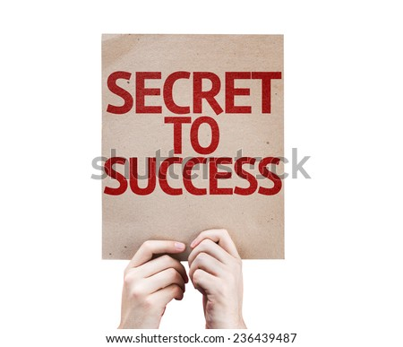 Secret to Success card isolated on white background - stock photo