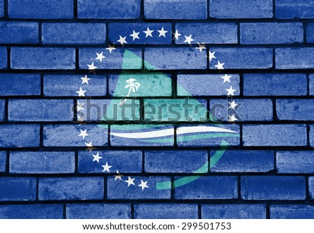 Secretariat of the Pacific Community flag painted on old brick wall texture background - stock photo