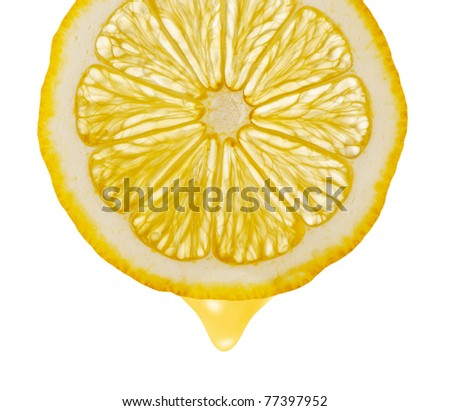 Section lemon with drop. The detailed photo on a gleam. It is isolated on a white background - stock photo