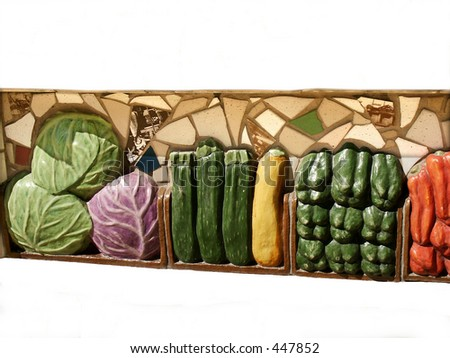 Section of veggie art in downtown Cleveland, OH - stock photo