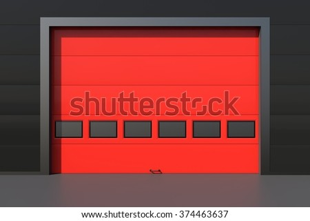 Sectional industrial red door with windows on industrial wall - stock photo