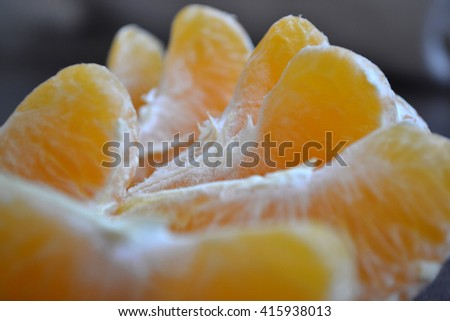 Sections of a citrus fruit. Close up of juicy segments of  tangerine. Spectacular background. - stock photo