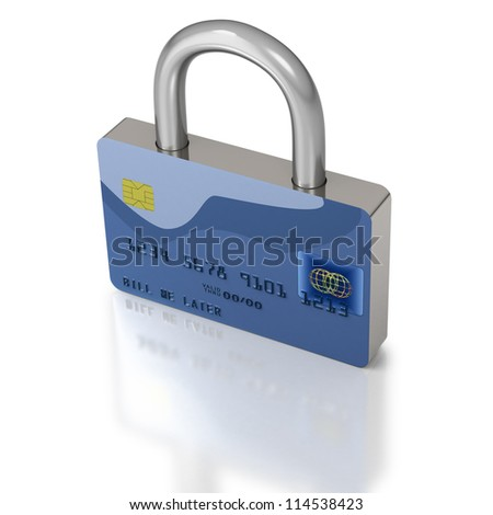 Secure blue credit card represented as strong padlock on white background - stock photo