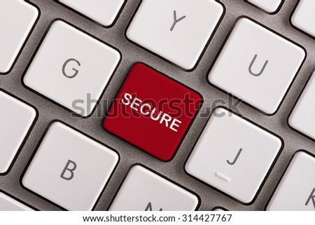 Secure button on white computer keyboard  - stock photo