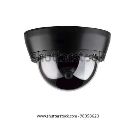 Secure ceiling type digital camera an image isolated on white - stock photo