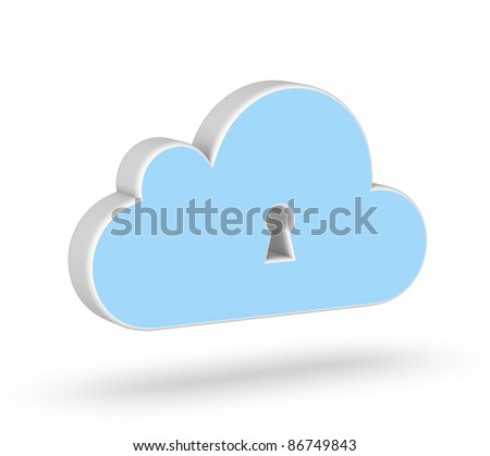 Secure Cloud Computing 3d icon - stock photo