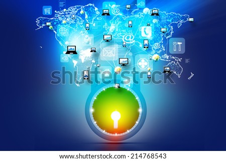 Secure computer network - stock photo