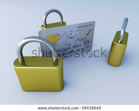 Secure Credit Card. 3D rendered Illustration. Isolated on white. - stock photo