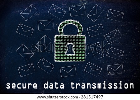 secure data transmission and encryption: lock with binary code texture surrounded by flying mails - stock photo