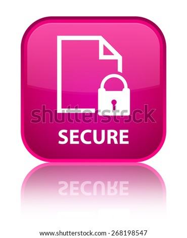 Secure (document page padlock icon) pink square button - stock photo