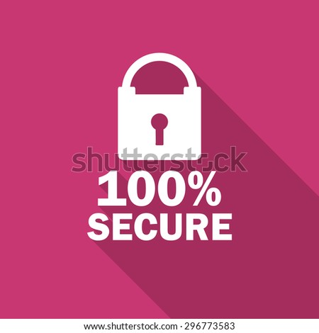 secure flat design modern icon with long shadow for web and mobile app - stock photo