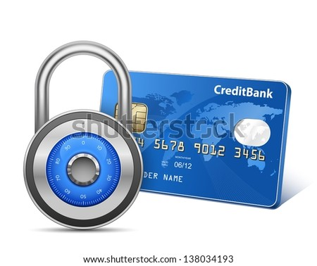 Secure Payment. Credit card and padlock - stock photo