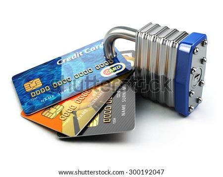 Secure payment internet online shopping concept.. Credit cards and padlock. 3d - stock photo