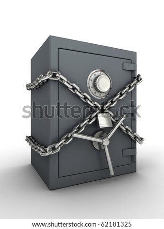 Secure safe. Bank safe with chain and padlock. - stock photo
