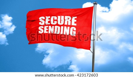 secure sending, 3D rendering, a red waving flag - stock photo
