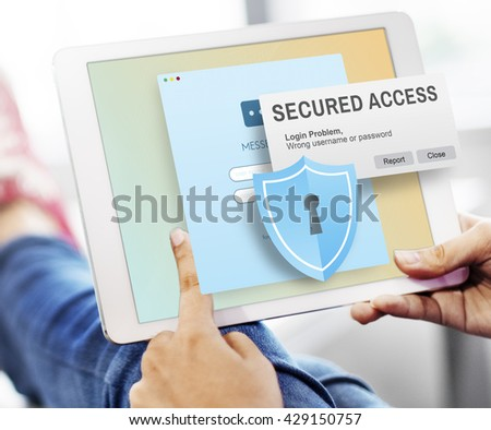 Secured Access Protection Online Security System Concept - stock photo