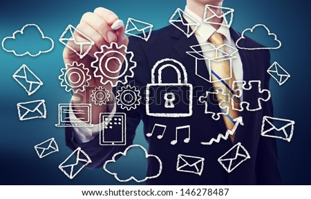 Secured Online Cloud Computing Concept with Business Man  - stock photo