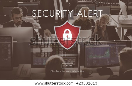 Security Alert Caution Beware Attention Sign Concept - stock photo