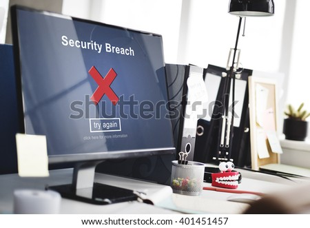 Security Breach Hacker Cyber Crime Privacy Policy Concept - stock photo