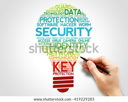 SECURITY bulb word cloud, business concept - stock photo