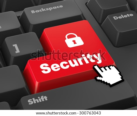 security button on the keyboard - stock photo