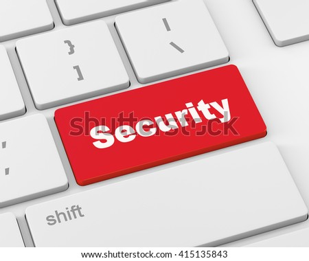 security button on the keyboard, 3d rendering - stock photo