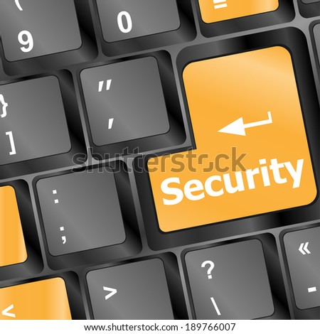 security button on the keyboard key - stock photo