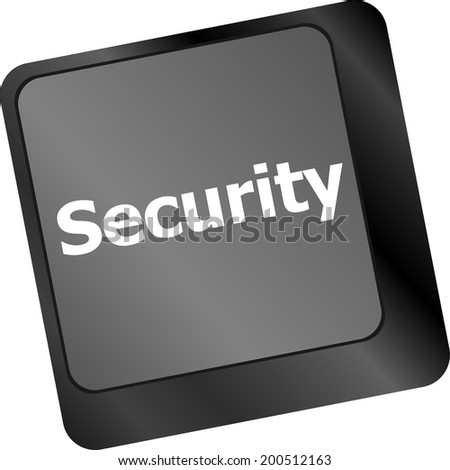 security button on the keyboard key, business concept - stock photo