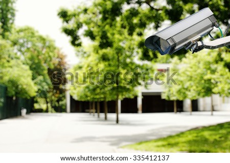 security camera and safety in a school - stock photo