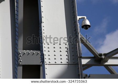 Security Camera at The Old Little Belt Bridge. Bridge walking bridge from 2015. - stock photo