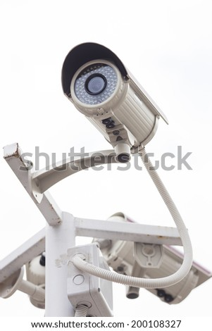 Security Camera CCTV with white background - stock photo
