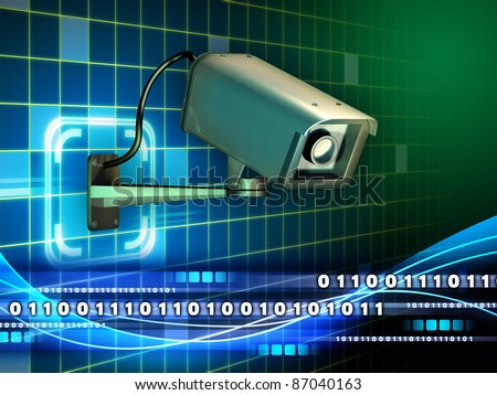 Security camera checking a data stream. Digital illustration. - stock photo
