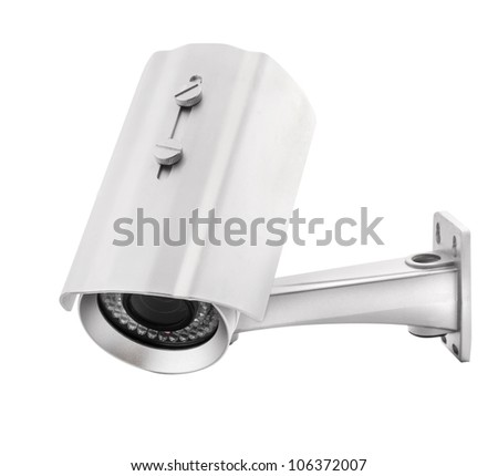 Security Camera, isolated on white, with clipping paths - stock photo