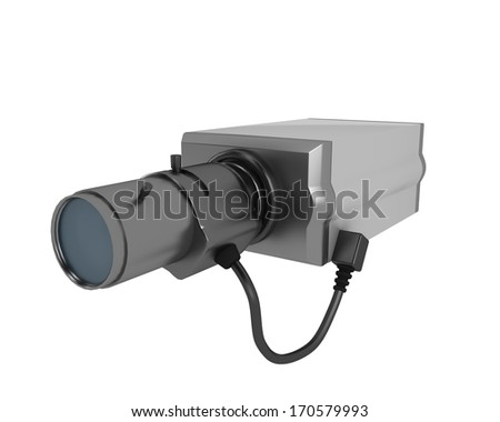 security camera on white background - stock photo
