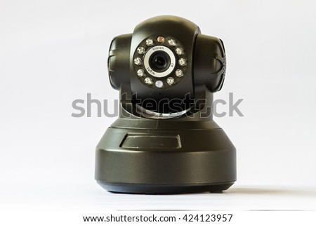 Security camera on white background. IP Camera side view - stock photo