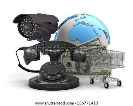 Security camera, rotary phone, shopping cart and dollar bills - stock photo