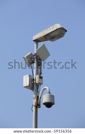 Security Camera with Solar Power - stock photo