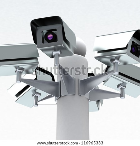 Security cameras, 3d - stock photo