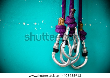 Security climb, carabiners, there are three. - stock photo