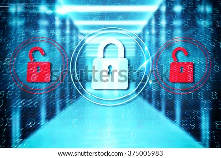 Security closed padlock - stock photo